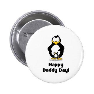 Pingüino feliz del día del papá pin redondo de 2 pulgadas