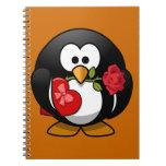 Pingüino feliz del el día de San Valentín Libros De Apuntes Con Espiral