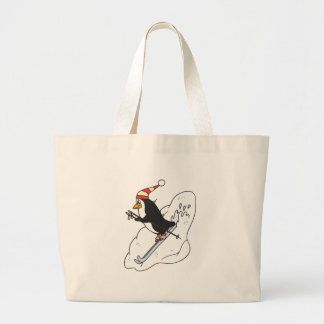 pingüino feliz del esquí bolsa tela grande