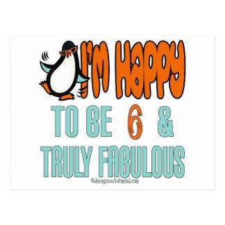 Pingüino feliz en 6 postales