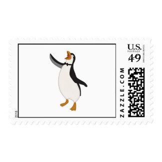Pingüino feliz estampilla