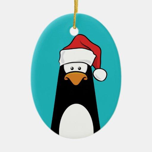 Pingüino festivo en un gorra de Santa (azul) Ornamento De Reyes Magos