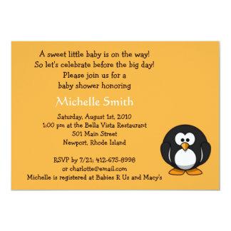 pingüino; fiesta de bienvenida al bebé invitación 12,7 x 17,8 cm