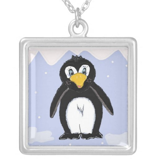 Pingüino flojo colgante cuadrado