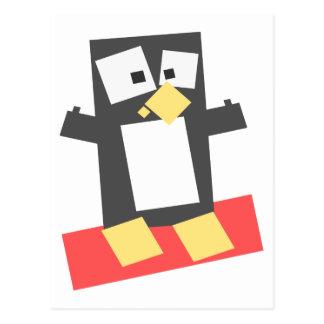 Pingüino formado cuadrado del dibujo animado tarjeta postal
