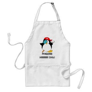 Pingüino fresco del pirata delantal