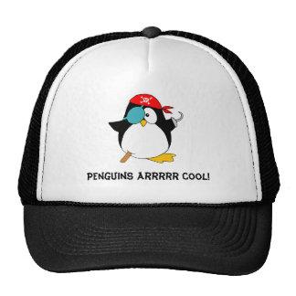 Pingüino fresco del pirata gorras de camionero