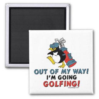 Pingüino Golfing Imán Cuadrado