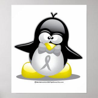 Pingüino gris/de plata de la cinta póster