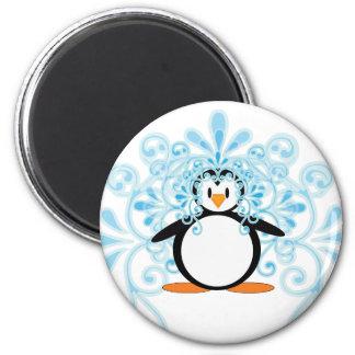 Pingüino hermoso de la novia 2010 imán redondo 5 cm