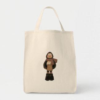 pingüino hivernal lindo bolsa tela para la compra