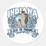 Pingüino Indiana Etiqueta Redonda