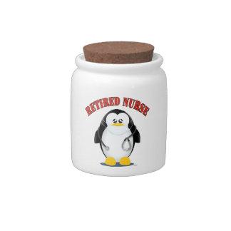Pingüino jubilado de la enfermera plato para caramelo