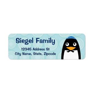 Pingüino judío feliz etiqueta de remite