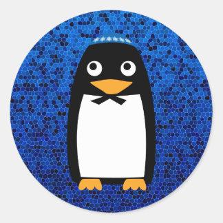 Pingüino judío feliz pegatina redonda