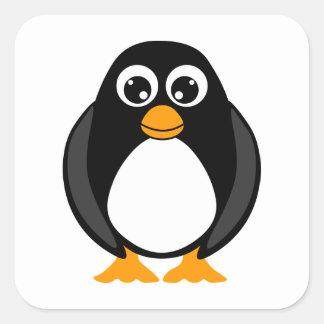 Pingüino lindo blanco y negro colcomanias cuadradases