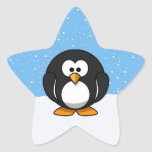Pingüino lindo calcomanía cuadrada personalizada