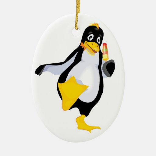pingüino lindo con helado adornos de navidad