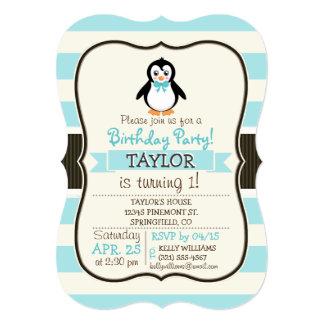 Pingüino lindo con la turquesa Bowtie Invitación 12,7 X 17,8 Cm