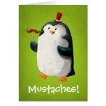 Pingüino lindo con los bigotes felicitación