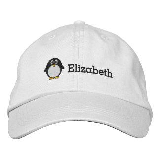 Pingüino lindo con nombre de encargo gorra de beisbol bordada