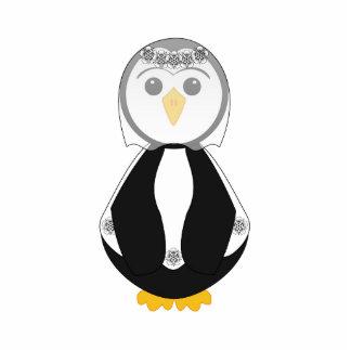 Pingüino lindo de la novia escultura fotográfica