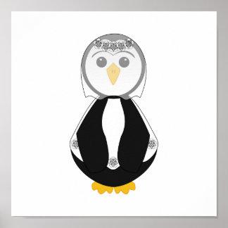 Pingüino lindo de la novia posters