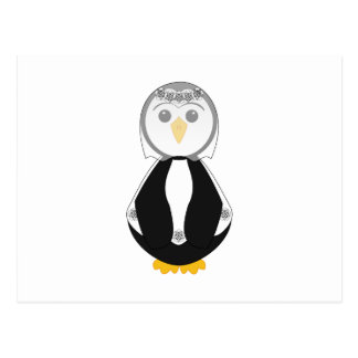 Pingüino lindo de la novia tarjeta postal