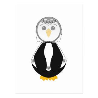 Pingüino lindo de la novia postales