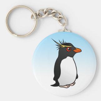 Pingüino lindo de Rockhopper Llavero Redondo Tipo Pin