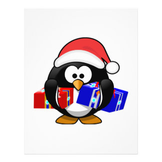 Pingüino lindo de Santa con los regalos Flyer Personalizado