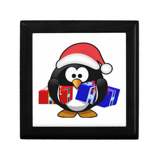 Pingüino lindo de Santa con los regalos Cajas De Regalo