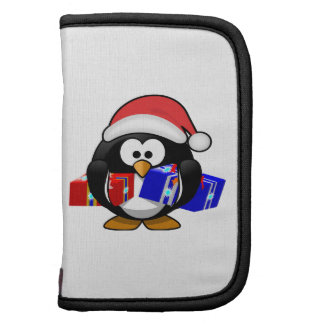 Pingüino lindo de Santa con los regalos Organizador