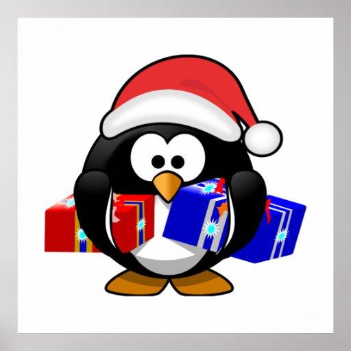 Pingüino lindo de Santa con los regalos Poster