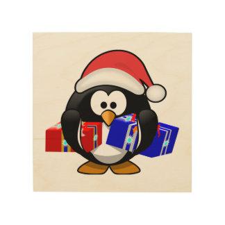 Pingüino lindo de Santa con los regalos Cuadros De Madera