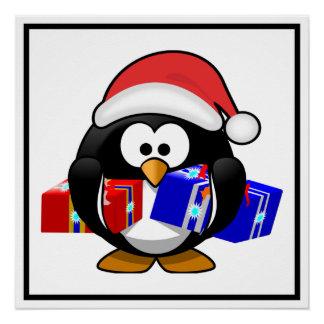 Pingüino lindo de Santa con los regalos