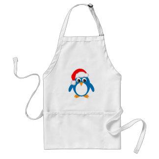 Pingüino lindo de Santa del navidad del dibujo ani Delantal