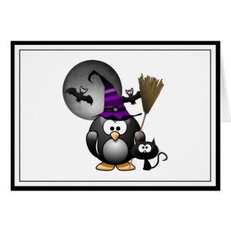 Pingüino lindo de Witchy con la escena de Tarjetón