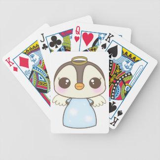 pingüino lindo del ángel del invierno del navidad baraja cartas de poker