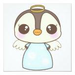 pingüino lindo del ángel del invierno del navidad invitación 13,3 cm x 13,3cm