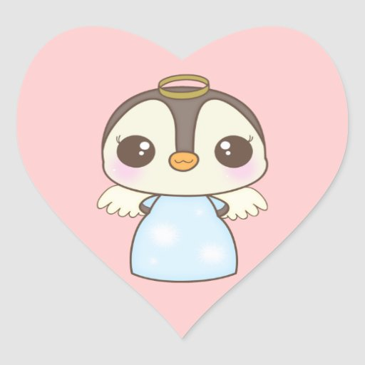 pingüino lindo del ángel del invierno del navidad calcomania de corazon