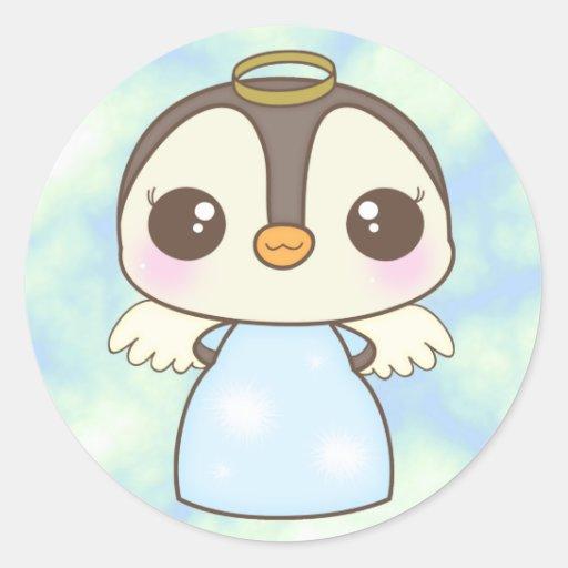 pingüino lindo del ángel del invierno del navidad etiquetas redondas