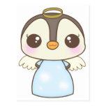 pingüino lindo del ángel del invierno del navidad postal