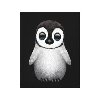 Pingüino lindo del bebé en negro lona estirada galerías