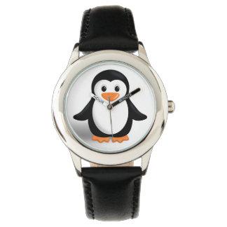 Pingüino lindo del bebé reloj de mano