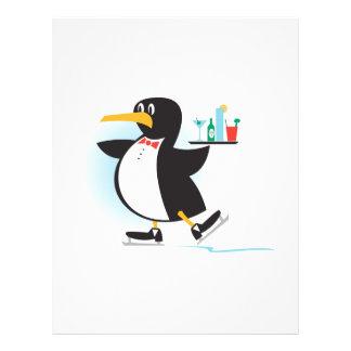 pingüino lindo del camarero en patines flyer personalizado