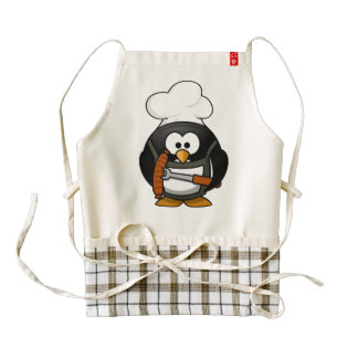 Pingüino lindo del cocinero que asa a la parrilla delantal zazzle HEART