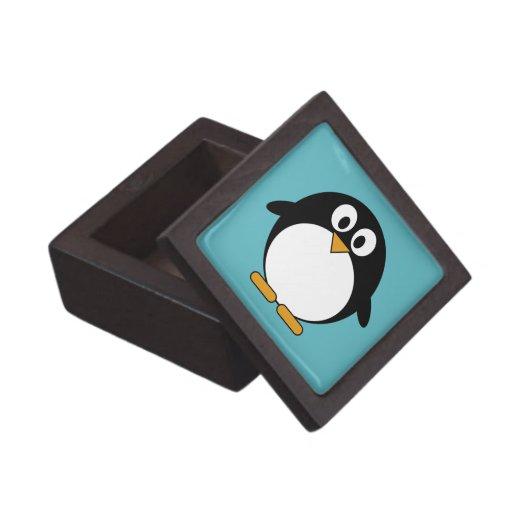 Pingüino lindo del dibujo animado cajas de joyas de calidad