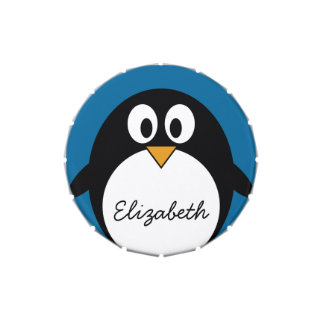 pingüino lindo del dibujo animado con el fondo azu frascos de dulces