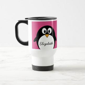pingüino lindo del dibujo animado con el fondo taza de viaje de acero inoxidable